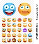 set of cute emoticons on white... | Shutterstock .eps vector #636293870