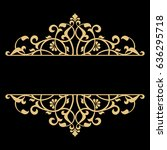 vintage gold frame on a black... | Shutterstock .eps vector #636295718