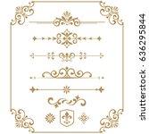 vintage vector set. floral... | Shutterstock .eps vector #636295844