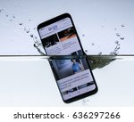 a sleek  modern smartphone with ... | Shutterstock . vector #636297266
