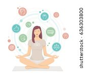 woman practicing mindfulness... | Shutterstock .eps vector #636303800