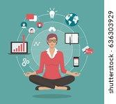 businesswoman practicing...   Shutterstock .eps vector #636303929