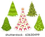 set christmas tree with... | Shutterstock .eps vector #63630499