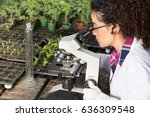 young biologist looking at... | Shutterstock . vector #636309548