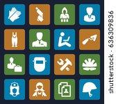 worker icons set. set of 16... | Shutterstock .eps vector #636309836