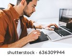 concentrated male freelancer... | Shutterstock . vector #636309944