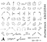 arrows icon set in hand drawn... | Shutterstock .eps vector #636310544