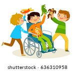 boy in wheelchair playing with... | Shutterstock .eps vector #636310958