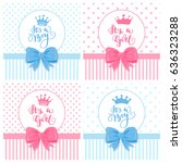 a set of vector greeting cards... | Shutterstock .eps vector #636323288