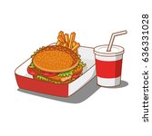 tasty burger and soda cup fast... | Shutterstock .eps vector #636331028