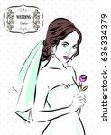 wedding time. bride in dress... | Shutterstock .eps vector #636334379