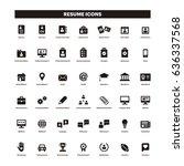 cv   resume black icons | Shutterstock .eps vector #636337568