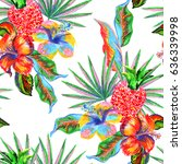 tropical floral leaves and... | Shutterstock . vector #636339998