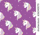 unicorn seamless pattern.... | Shutterstock .eps vector #636340070