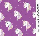 unicorn seamless pattern.... | Shutterstock .eps vector #636340070