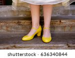 bride yellow wedding shoes   Shutterstock . vector #636340844