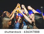 group of friends drinking beers ... | Shutterstock . vector #636347888