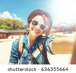 happy young woman tourist doing ... | Shutterstock . vector #636355664
