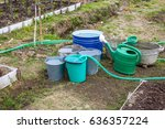 bucket of water standing in the ... | Shutterstock . vector #636357224
