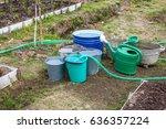 bucket of water standing in the ... | Shutterstock . vector #636357224