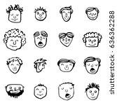 vector icon set of dad faces | Shutterstock .eps vector #636362288