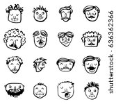 vector icon set of dad faces | Shutterstock .eps vector #636362366