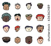 vector icon set of dad faces | Shutterstock .eps vector #636362489