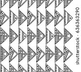 seamless pattern. black and... | Shutterstock . vector #636363290