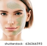 woman clay face mask peeling... | Shutterstock . vector #636366593