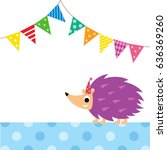 cute porcupine party vector | Shutterstock .eps vector #636369260