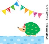 cute porcupine party vector | Shutterstock .eps vector #636369278