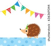 cute porcupine party vector | Shutterstock .eps vector #636369344