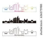 montevideo skyline linear style ... | Shutterstock .eps vector #636375980