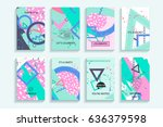 universal abstract posters set. ... | Shutterstock . vector #636379598