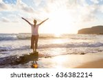 relaxed woman enjoying sun ... | Shutterstock . vector #636382214