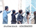 team work of housing project or ... | Shutterstock . vector #636386000