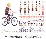 male cyclist on sport bike... | Shutterstock .eps vector #636389129