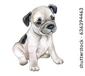 Stock photo french bulldog isolated on white background puppy is black and white watercolor illustration 636394463