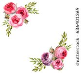 Stock photo save the date floral card vintage wedding invitation pink roses watercolor hand drawing 636401369