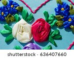 pattern embroidered ribbons ... | Shutterstock . vector #636407660