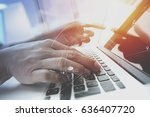 businessman working with mobile ... | Shutterstock . vector #636407720