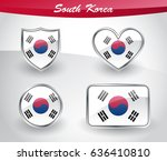 glossy south korea flag icon... | Shutterstock .eps vector #636410810