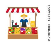 cartoon farmer vegetable seller ... | Shutterstock . vector #636413078