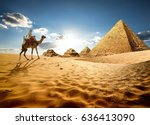 bedouin on camel near pyramids... | Shutterstock . vector #636413090