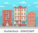 city street with vintage houses ... | Shutterstock .eps vector #636422669