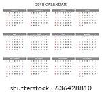 2018 calendar planner design. | Shutterstock .eps vector #636428810