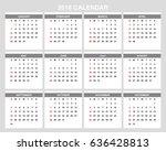 2018 calendar planner design. | Shutterstock .eps vector #636428813