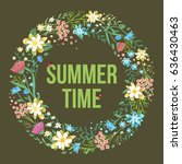 round summer frame with flowers ... | Shutterstock .eps vector #636430463