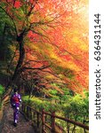 japanese woman walking with...   Shutterstock . vector #636431144