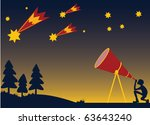 person watching meteors in... | Shutterstock .eps vector #63643240